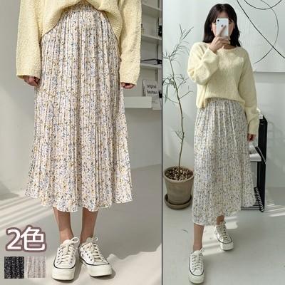 【ENVYLOOK】👗韓国ファッションカジュアルECサイト1位 ENVYLOOK💖ミモレ丈フラワープリーツスカート💖2COLOR 送料無料