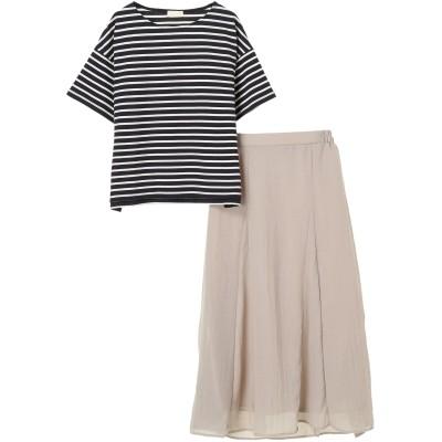 SET2点 ボーダーカットソー+スカート