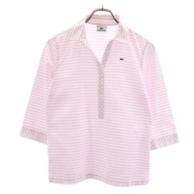 ラコステ ボーダー柄 七分袖 シャツ 40 ピンク系 LACOSTE ロゴ刺繍 レディース 古着 201010 メール便可