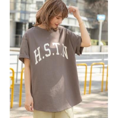 (ad thie/アドティエ)H.S.T.N カレッジロゴ プリント Tシャツ ラウンド スリット チュニック ゆったり 春 夏 ビックTシャツ サイド スリット/レディース ダークブラウン