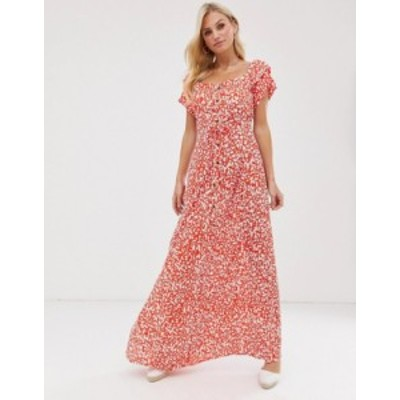 リバーアイランド レディース ワンピース トップス River Island maxi tea dress with frill sleeves in red Red print