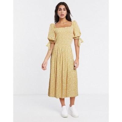 エイソス レディース ワンピース トップス ASOS DESIGN shirred maxi dress in mustard ditsy floral print