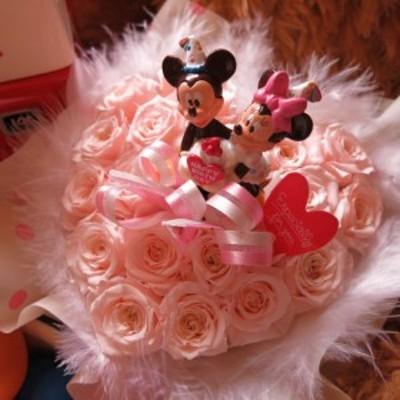 ディズニー 誕生日プレゼント ハート フラワーギフト ミッキー ミニー バースデーA クリアーケース付き ハート プリザーブドフラ