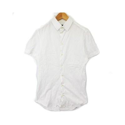 【中古】エンポリオアルマーニ EMPORIO ARMANI シャツ 半袖 ボタンダウン BD ジャージー 白 ホワイト 38 RRR メンズ 【ベクトル 古着】