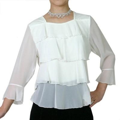 コーラスブラウス コーラス衣装 合唱衣装(9号〜15号) シフォンティアードブラウス