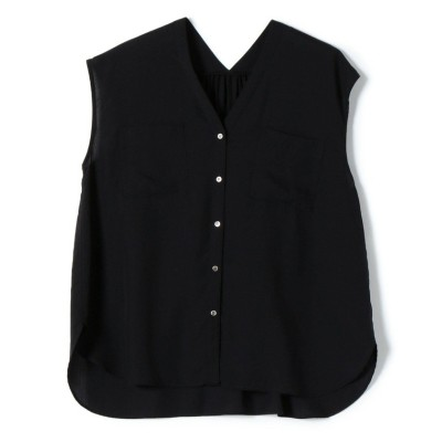 【シップス】 ポケットVネックショートスリーブシャツ レディース ブラック 36 SHIPS