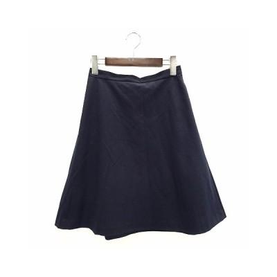 【中古】インディヴィ INDIVI スカート フレア ミディ 38 M ネイビー 200608O レディース 【ベクトル 古着】