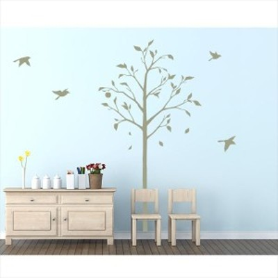 東京ステッカー 高級ウォールステッカー 植物 林檎の木と小鳥 Mサイズ *TS0051-FM グリーン  『お