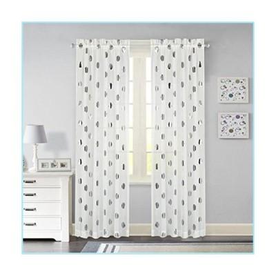 新品Idea Nuova Metallic Dot Window Curtain Panel, 84-Inch, Silver
