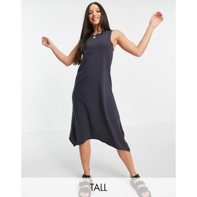 ノイズィーメイ Noisy May Tall レディース ワンピース ノースリーブ ミドル丈 sleeveless midi dress with high low hem in washed black ウォッシュブラック