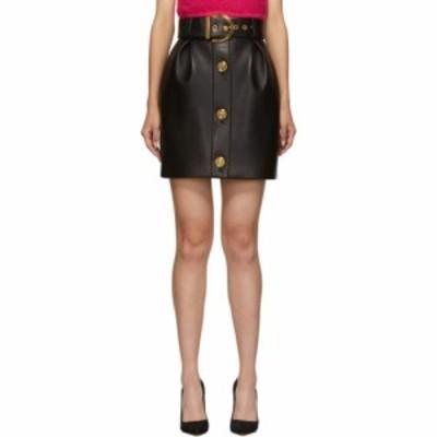 ヴェルサーチ Versace レディース ミニスカート メデューサ スカート black leather medusa button miniskirt Black