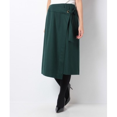 【レリアン】 ラップ風デザインスカート レディース グリーン系 9 Leilian