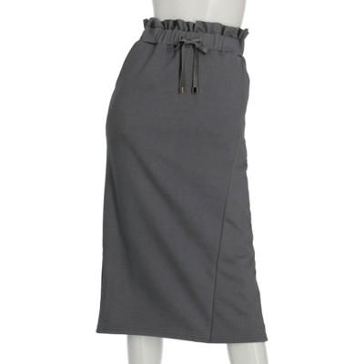 SU裏毛ラップ風ナロースカート (チャコールグレー)