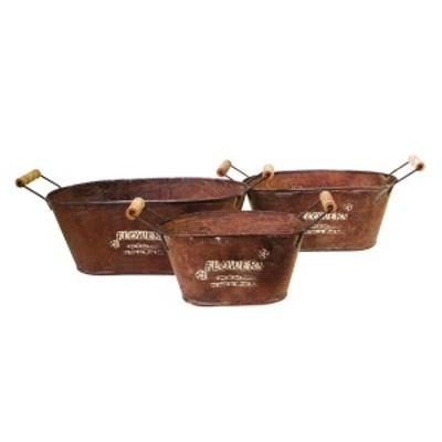 東洋石創 オーナメント バケツオーバル 3個セット アンティーク調 82025  植木鉢 プラントポット プランター ガーデニング べランディン