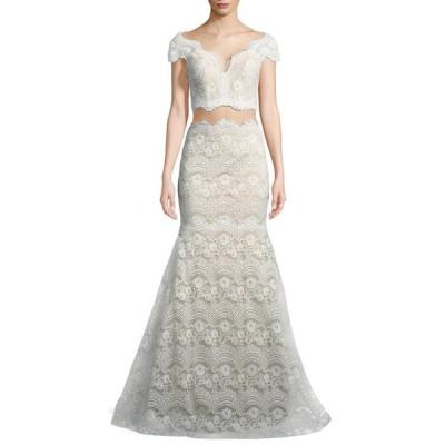 ラフェム レディース ワンピース トップス Stretch Lace Two-Piece Scalloped Gown