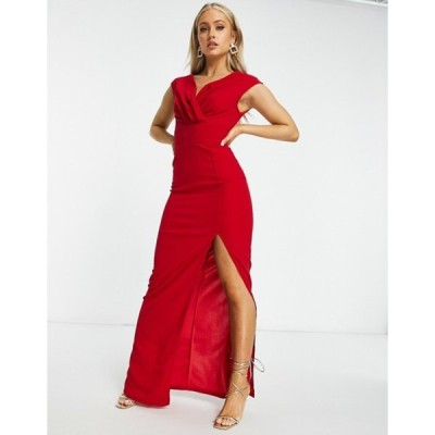 アックスパリ レディース ワンピース トップス AX Paris plunge front maxi dress in red