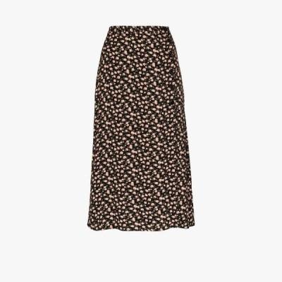 リフォーメーション Reformation レディース ひざ丈スカート スリットスカート スカート Jaime floral slit midi skirt black