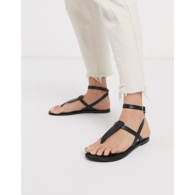 エイソス レディース サンダル シューズ ASOS DESIGN Fennel leather toe post sandal in black