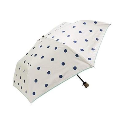 折りたたみ傘 晴雨兼用傘 UVカット 遮光 北欧 軽量 超撥水加工 ブルー ホワイト レディース (ポルカドット)