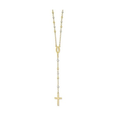 Solid 14k Gold Big Heavy Two-Tone with Diamond-Cut Bead Rosary (4mm)