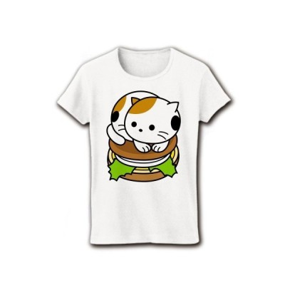 三毛猫バーガー リブクルーネックTシャツ(ホワイト)