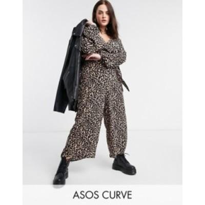 エイソス レディース ワンピース トップス ASOS DESIGN curve wrap tie jumpsuit in animal print Animal print
