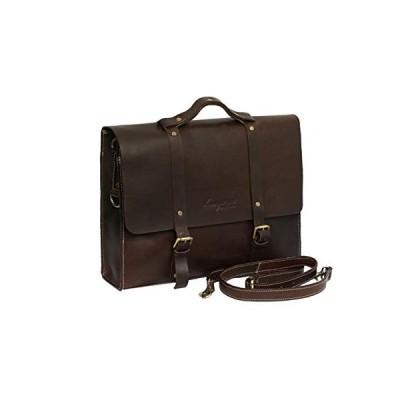 Brandslock Unisex Genuine Leather Laptop Messenger Shoulder Bag (Brown) 並行輸入品
