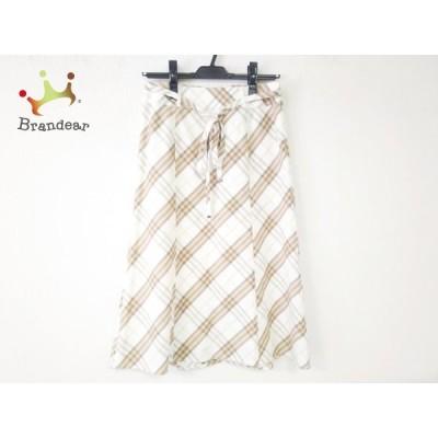 バーバリーロンドン ロングスカート サイズ36 M レディース 美品 白×ベージュ×マルチ  値下げ 20200809