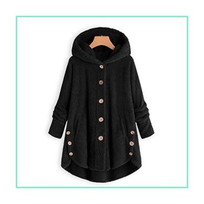 Fastbot women's Fleece Button Jacket Fluffy Hooded Coat Sherpa Shearling Sweatshirt Solid Warm Winter Oversized Outwear Black並行輸入品