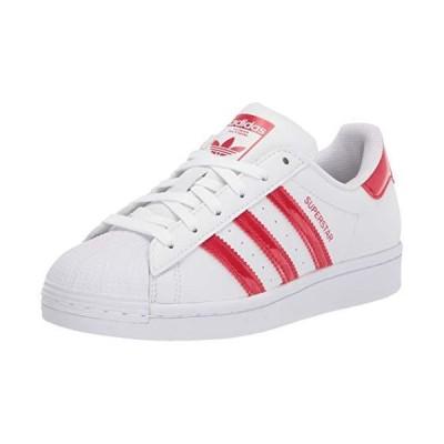 adidas Originals Women's Superstar Shoes Sneaker, White/Scarlet/White, 8【並行輸入品】