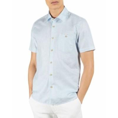 テッドベーカー メンズ シャツ トップス Short Sleeve Button Down Shirt Light Blue