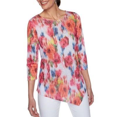 ルビーロード レディース Tシャツ トップス Petite Size Embellished Scoop Neck Floral Burnout Print Asymmetrical Hem Top Hot Pink Multi
