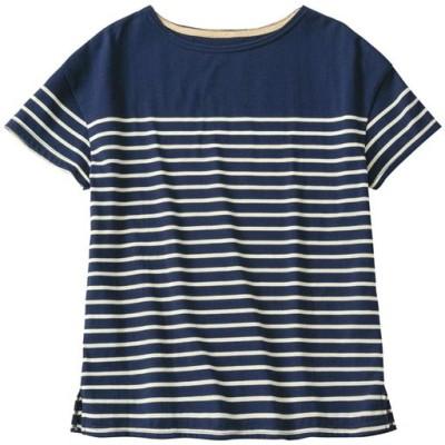ボートネックボーダーTシャツ(S~5L・半袖・洗濯機OK)/B(ネイビー×オフホワイト)/L