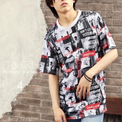 Tシャツ メンズ 半袖 ビッグシルエット 総柄プリント 半袖T トップス インナー クルーネック ストリート 夏
