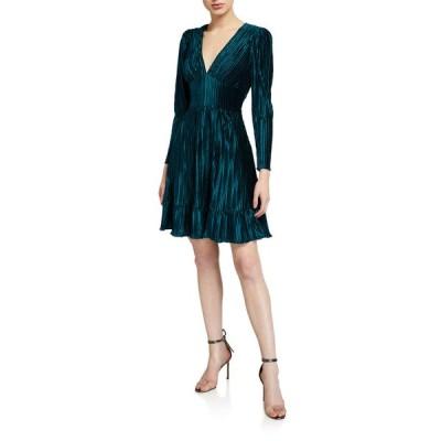 ショシャーナ レディース ワンピース トップス Laine V-Neck Long-Sleeve Pleated Velvet Dress