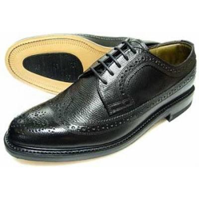 TUFF(タフ)British Classic 本革底 ウィングチップ ビジネスシューズ(型押)黒 ワイズ3E(EEE)【グッドイヤーウェルト製法・日本製・