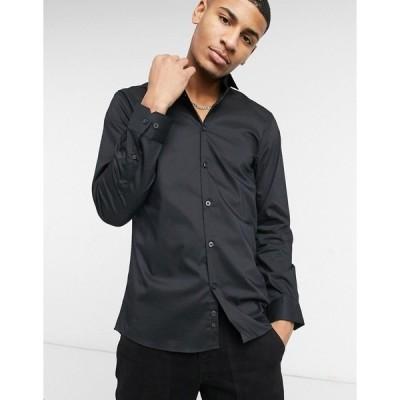 モスブロス メンズ シャツ トップス Moss London slim fit stretch shirt in black Black