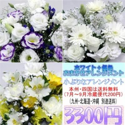 供花 ホワイト+各色 お供え用おまかせアレンジメント3,300円
