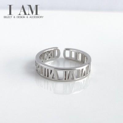 ローマ数字 デザイン リング 指輪 シルバー925 フリーサイズ レディース 女性 アクセサリー