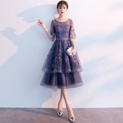 大きいサイズ ウエディングドレス 体型カバー ミモレ丈ドレス パーティードレス