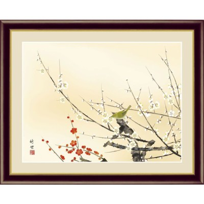 (F4サイズ)紅白梅に鶯 田村竹世作 花鳥画 春飾り 約横42×縦34cm インテリアアート(額絵) 伝統の日本画 g5782