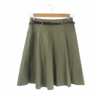 【中古】ボールジー BALLSEY トゥモローランド スカート フレア ひざ丈 ベルト 38 緑 グリーン カーキ レディース
