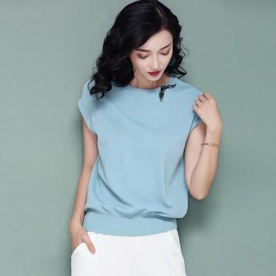 送料無料 Tシャツ フレンチスリーブ ラウンドネック ニット 無地 オフィスカジュアル 大きいサイズ