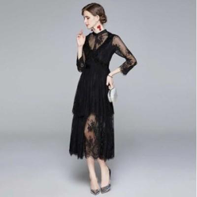 予約商品 大きいサイズ レディース 結婚式 花柄総レース ロングドレスワンピース オーバーサイズ 韓国ファッション ビッグサイズ LL 3L