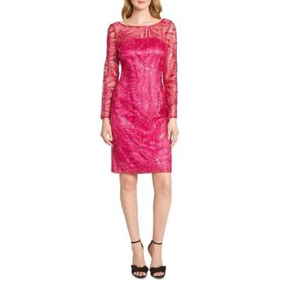 タハリエーエスエル  ワンピース トップス レディース Embroidered Sequinned Sheath Dress Magenta Sequin