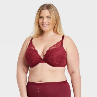 オーデン Auden レディース ブラジャーのみ 大きいサイズ インナー・下着 Plus Size Lace Plunge Push-Up Bra - Berry