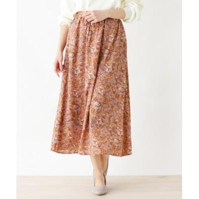 3can4on(Ladies)(サンカンシオン(レディース)) 【手洗いOK】更紗プリントフレアロングスカート
