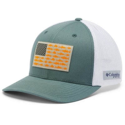 コロンビア 帽子 アクセサリー メンズ Columbia Sportswear Men's PFG Mesh Fish Flag Ball Cap Green Dark 01