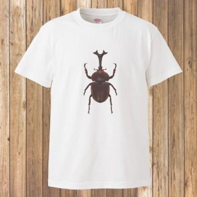 Tシャツ 半袖 メンズ レディース キッズ 昆虫6 カブトムシ ホワイト