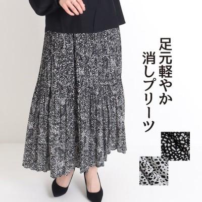 ロングスカート プリーツ レオパード マキシ丈 シフォン 黒 ウエストゴム